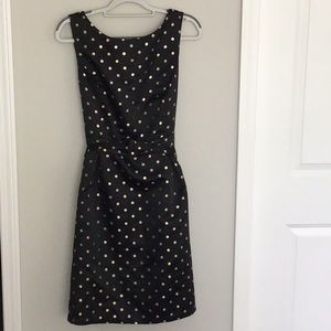 WHBM black and gold polka dot fit and flare dress